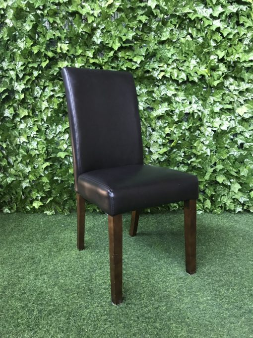 chocolate-brown-upholstered-faux-leather-vinyl-padded-chair-with-high-back-and-wooden-legs