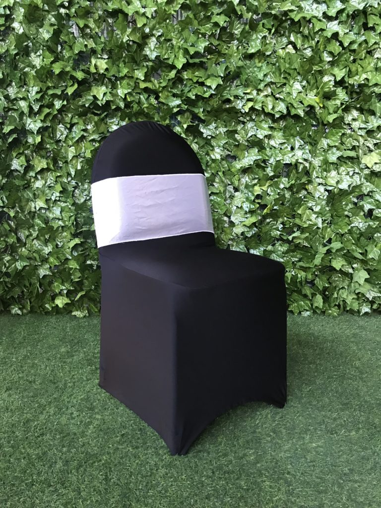 powder-coated-steel-metal-frame--chair-with-vinyl-covered-padding-for-seat-and-back-styled-with-a-black-lycra-cover-and-sash
