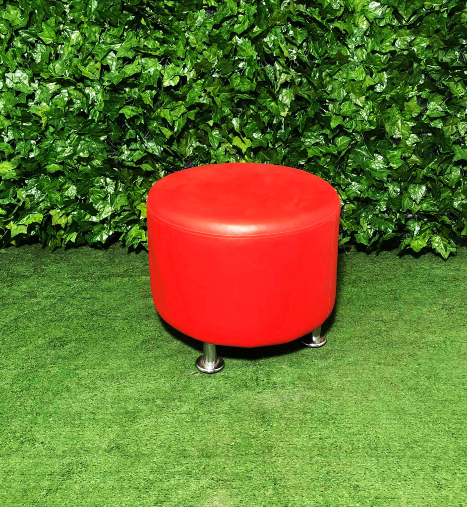 Round-leather-ottoman-red-seating