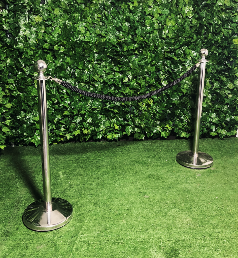 stainless-steel-bollard-pole-with-black-silky-rope-barrier
