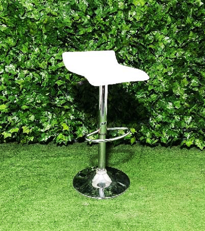 Swivel-White-Stainless-steel-wave-stool