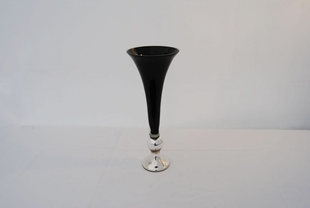 black and silver cylinder vase event hire