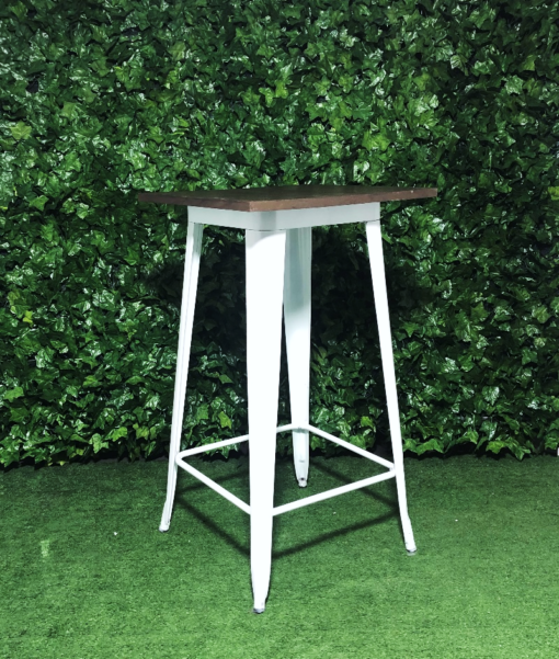 Square-white-metal-stained-wooden-top-tall-tolix-bar-table