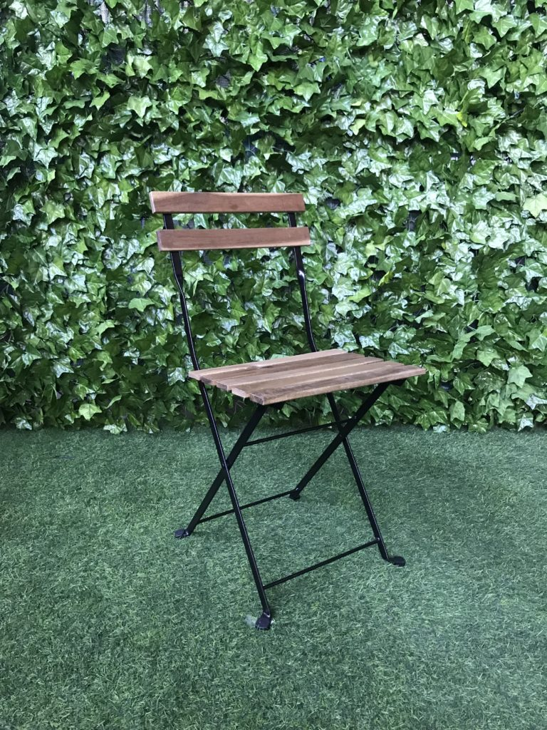 Timber-slatted-outdoor-garden-chair-with-black-powder-coated-steel-metal-frame