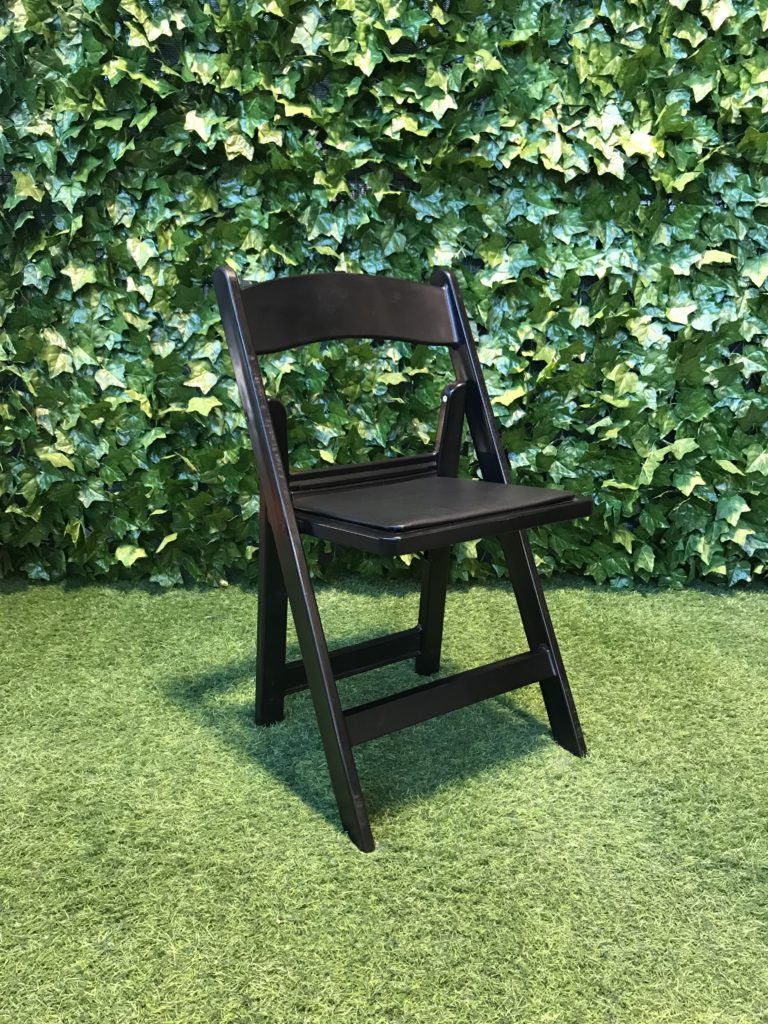 Black-resin-folding-americana-chair-with-vinyl covered-paddes-seat-great-for-weddings