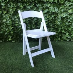 White-resin-folding-americana-chair-with-vinyl covered-paddes-seat-great-for-weddings