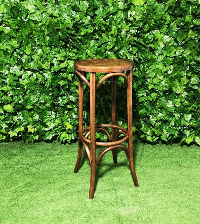 Round Natural Wooden Bentwood Stool with no back