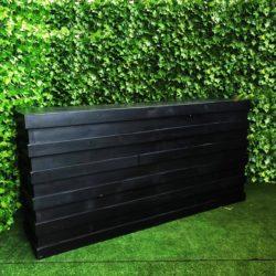 Horizontal-slat-black-pallet-2.4-meter-long-bar-with-in-built-shelf-for-storage