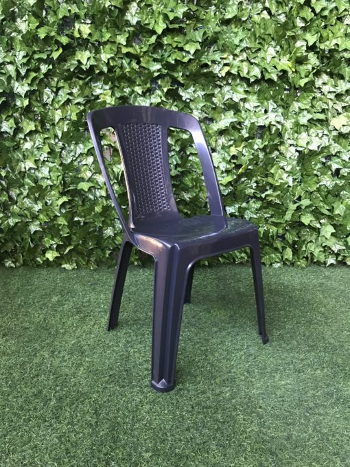 charcoal-grey-black-high-gloss-plastic-bistro-chair-with-cut-outs-and-woven-pattern-on-the-back-of-the-seat