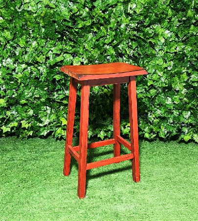 Wooden-Saddle-Stool-Red