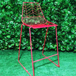 Red-Wire-Metal-Stool-Chair