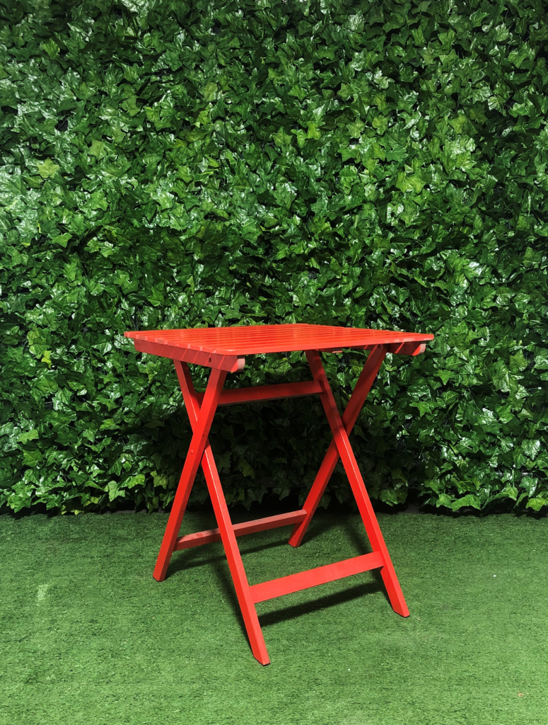 Square-red-wooden-folding-a-frame-timber-slatted-cafe-table