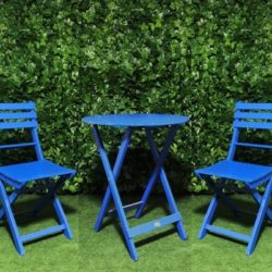 Timber-wooden-slatted-round-blue-table-and-chairs-outdoor-setting