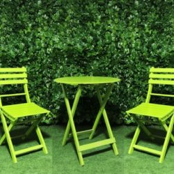 Timber-wooden-slatted-round-green-outdoor-table-and-chair-setting
