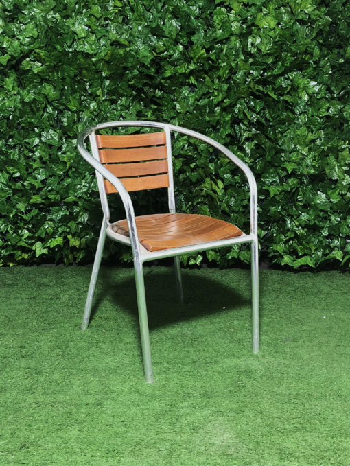 wooden-slatted-cafe-aluminum-chair-seating-outdoor-with-arms