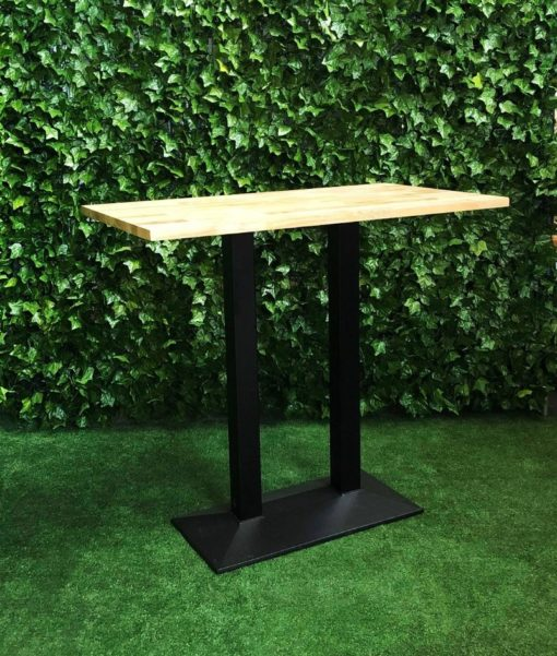 Black-metal-large-base-with-wooden-rectangular-top-high-bar-table