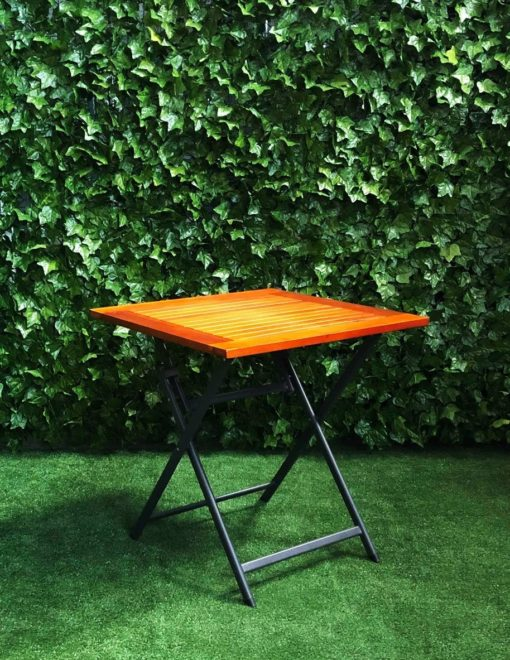 stained-wooden-slatted-square-top-black-folding-metal-base-timber-cafe-table