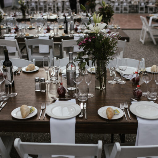Stained-Timber-Tables-and-Americanas-in-15m-x-30m-Clear-Pavilion-at-Lot-100-for-a-wedding
