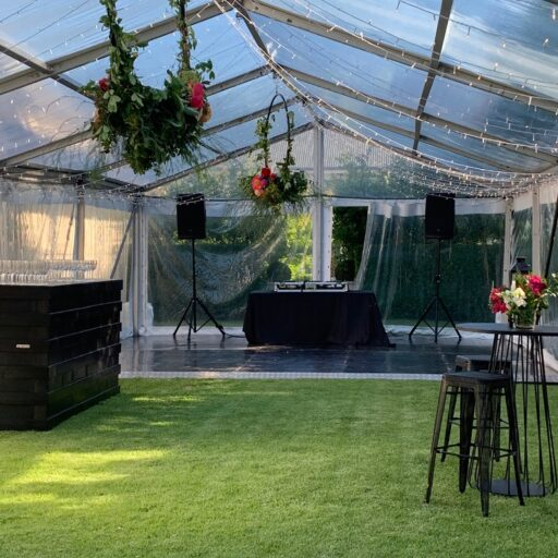 6mx18m-Clear-Pavilon-with-Fairy-Lighting-black-tolix-bar-stools-black-pallet-bar-and-black-ply-dance-floor
