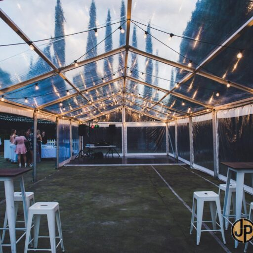6m-x-18m-clear-pavilion-with-fairy-lighting-white-tolix-bar-stools-and-square-white-tolix-bar-tables