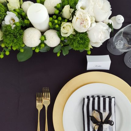 Wedding-at-beechwood-gardens-with-a-10m-x-18m-solid-toof-pavilion-with-Roof-Lining-Bentwood-Chairs-Black-Linen-and-Gold-Crockery-and-cutlery-hire-products