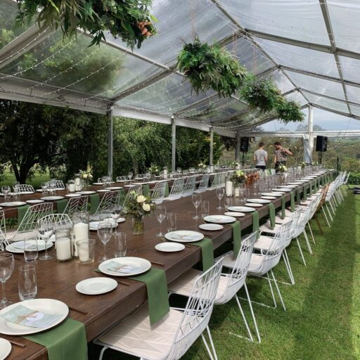 Wedding-6m-x-18m-Clear-Pavilion-with-Stained-Timber-Tables-Wire-Chairs-Crockery-Cutlery-and-Glassware