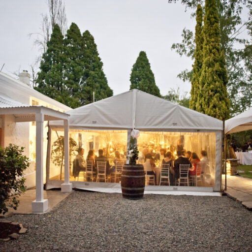 6m-x21m-Pavilion-with-clear-walls-and-wine-barrels
