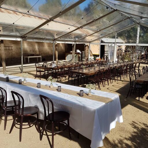 Wedding-10m-x-15m-Clear-Pavilion-with-Festoon-Lights-Stained-Timber-Tables-and-Walnut-Bentwood-Chairs-at-Brooklyn-Farm