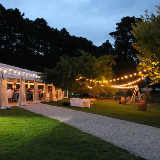 Wedding-10m-x-27m-Clear-Pavilion-with-Festoon-Lighting