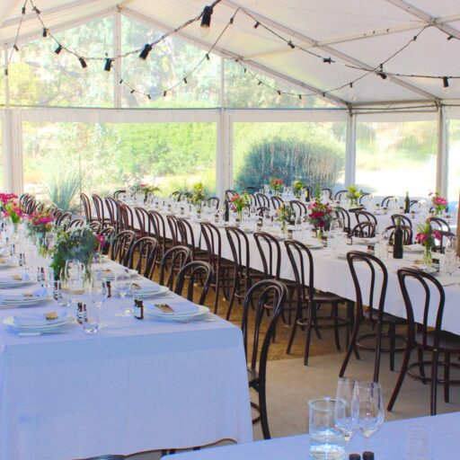 wedding-at-Brooklyn-farm-10m-Pavilion-with-festoon-lights-Bentwood-Chairs-White-Tablecloths-crockery-cutlery-and-glassware