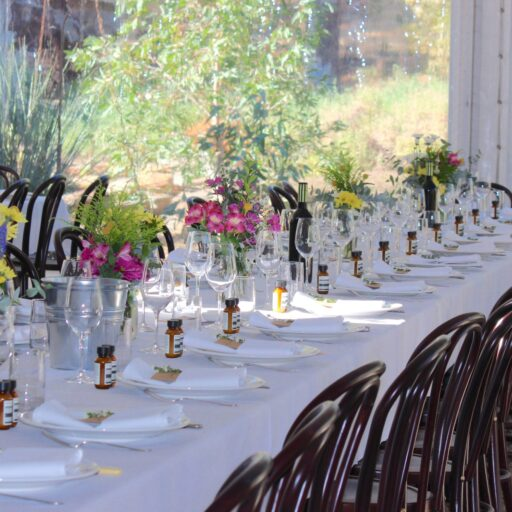 wedding-at-Brooklyn-farm-Bentwood-Chairs-White-Tablecloths-crockery-cutlery-and-glassware