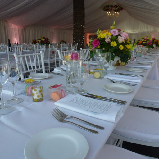wedding-at-carclew-house-with-white-chiavari-chairs-crockery-cutlery-and-glassware