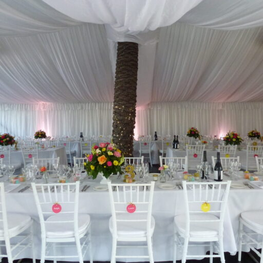 Wedding-at-Carclew-House-10m-x-18m-Pavilion-with-Black-Ply-Flooring-Wall-and-Roof-Lining-Chiavari-Chairs-White-Linen-and-Tableware-hire-products