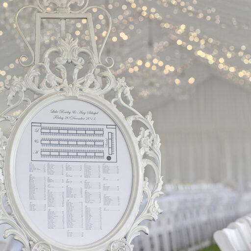 White-Barouque-Easel-and-frame-with-Seating-Chart