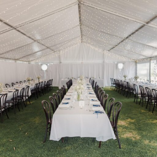 Wedding-Pavilion-with-bud-lighting-Walnut-Bentwood-Chairs-White-Linen-at-Hentley-Farm-Wines