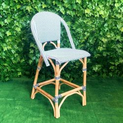 black-and-white-checkered-wicker-seat-and-back-with-cane-timber-frame-Mediterranean-style-outdoor-bar-stool
