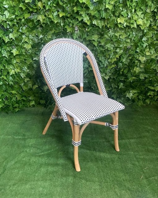 black-and-white-checkered-wicker-seat-and-back-with-cane-timber-frame-Mediterranean-style-outdoor-chair