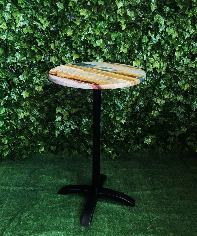 ricardo,timber-look,resin-round-bar-table-with-black-stand-and-blue-and-red-grain-pattern