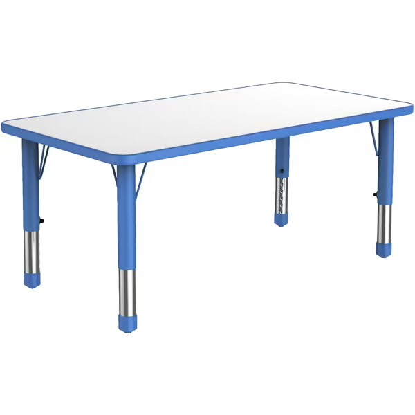 rectangular-plastic-kiddy-table-with-blue-adjustable-legs-and-white-surface-that-seats-six-children