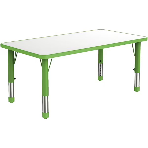 rectangular-plastic-kiddy-table-with-green-adjustable-legs-and-white-surface-that-seats-six-children