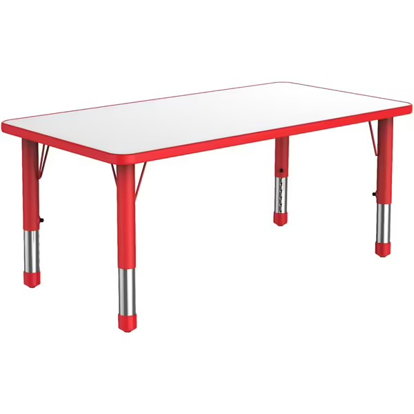 rectangular-plastic-kiddy-table-with-red-adjustable-legs-and-white-surface-that-seats-six-children